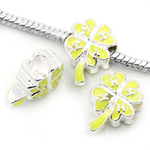 4 Leaf Clover Yellow Charm Beads For Snake Chain Charm Bracelet - Sexy Sparkles Fashion Jewelry - 2