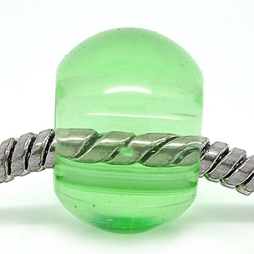 10 Clear Green Glass Murano Charm European Bead Compatible for Most European Snake Chain Bracelet - Sexy Sparkles Fashion Jewelry