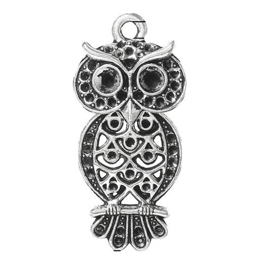 Antique Silver Plated Owl Charm Pendant for Necklace - Sexy Sparkles Fashion Jewelry - 1