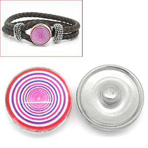 Circle Rings Design Glass Chunk Charm Button Fits Chunk Bracelet