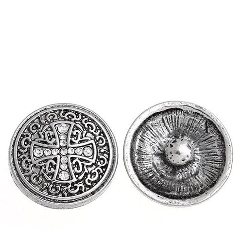Chunk Snap Buttons Fit Chunk Bracelet Round Antique Silver Cross Pattern Carved Clear Rhinestone 20mm - Sexy Sparkles Fashion Jewelry - 1