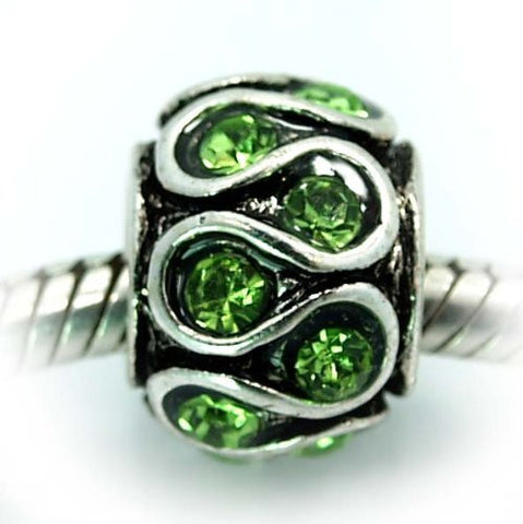Lt Green  Rhinestone Spacer Bead European Bead Compatible for Most European Snake Chain Charm Bracelet - Sexy Sparkles Fashion Jewelry - 2