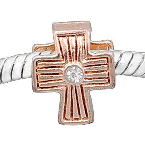 Cross w/ Clear  Crystal Rose Gold Plated Charm European Bead Compatible for Most European Snake Chain Bracelet - Sexy Sparkles Fashion Jewelry