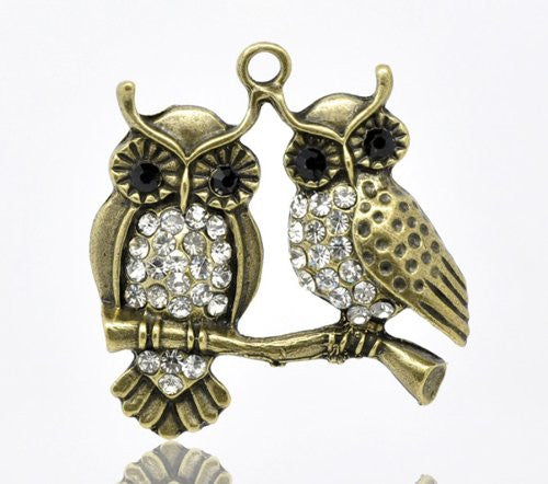 Antique Bronze Plated Base Rhinestone Owl Charm Pendant for Necklace - Sexy Sparkles Fashion Jewelry - 1
