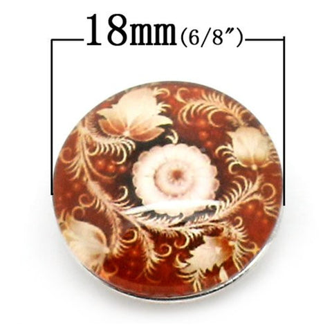 Antique Flower Design Glass Chunk Charm Button Fits Chunk Bracelet 18mm - Sexy Sparkles Fashion Jewelry - 2
