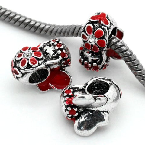 Red Flower Fairy Charm European Bead Compatible for Most European Snake Chain Bracelet - Sexy Sparkles Fashion Jewelry - 2