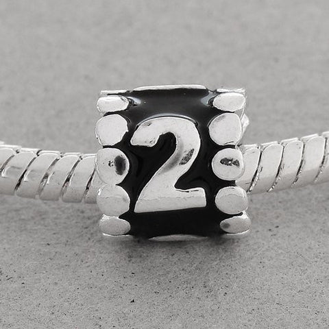 "Black Enamel Number Charm Bead  ""2"" European Bead Compatible for Most European Snake Chain Charm Bracelets - Sexy Sparkles Fashion Jewelry - 3"