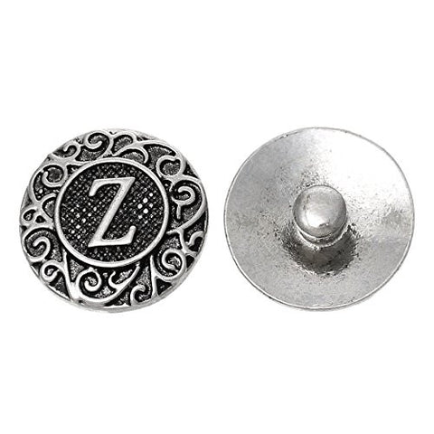 Alphabet Letter Z Chunk Snap Button or Pendant Fits Snaps Chunk Bracelet - Sexy Sparkles Fashion Jewelry - 1