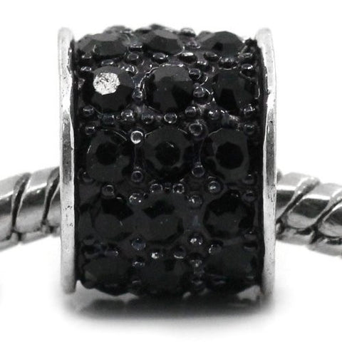 Black Sparkly Charm w/ Rhinestones for Snake Chain Charm Bracelets - Sexy Sparkles Fashion Jewelry - 4