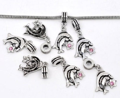 Pisces Zodiac Charm W/pink Crystal Dangle Bead for Snake Bracelets - Sexy Sparkles Fashion Jewelry - 2