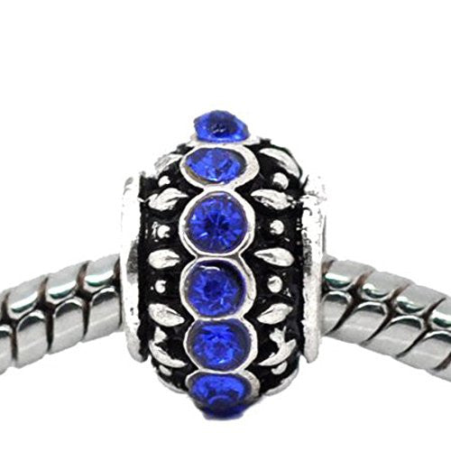 Royal Blue Created Birthstone Charm Beads for Snake Chain Bracelets