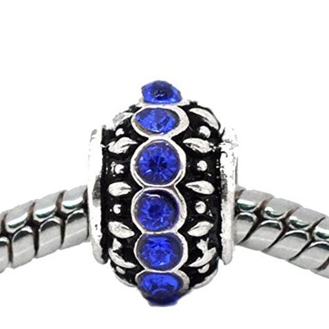 Royal Blue Created Birthstone Charm Beads for Snake Chain Bracelets - Sexy Sparkles Fashion Jewelry - 1