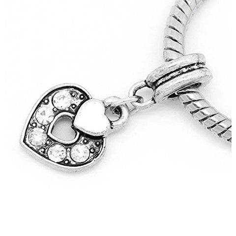 Heart Charm W/Clear  Crystals Bead - Sexy Sparkles Fashion Jewelry - 1