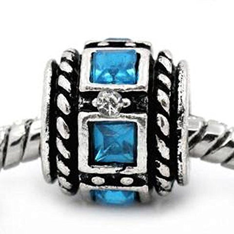 Aqua Squre Design Birthstone Charm Beads for Snake Chain Bracelets - Sexy Sparkles Fashion Jewelry - 1