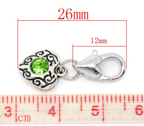 Heart Antique Silver Green Rhinestone Clip On Charms. Fits Thomas Sabo 26x10mm, - Sexy Sparkles Fashion Jewelry - 2