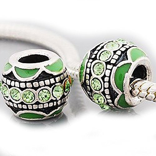Light Green  Rhinestone European Bead Compatible for Most European Snake Chain Charm Bracelet