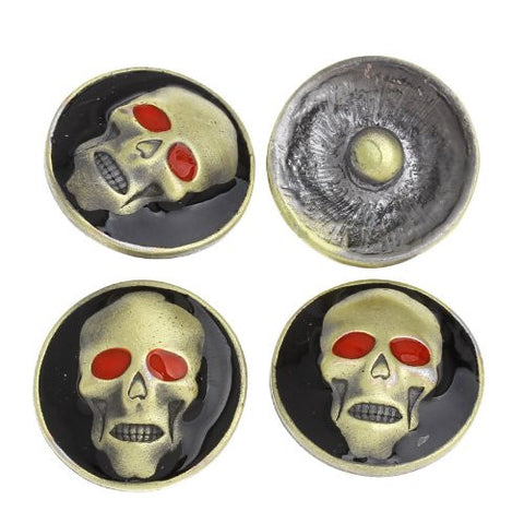Chunk Snap Buttons Fit Chunk Bracelet Round Antique Bronze Enamel Red Halloween Skull Pattern - Sexy Sparkles Fashion Jewelry - 4