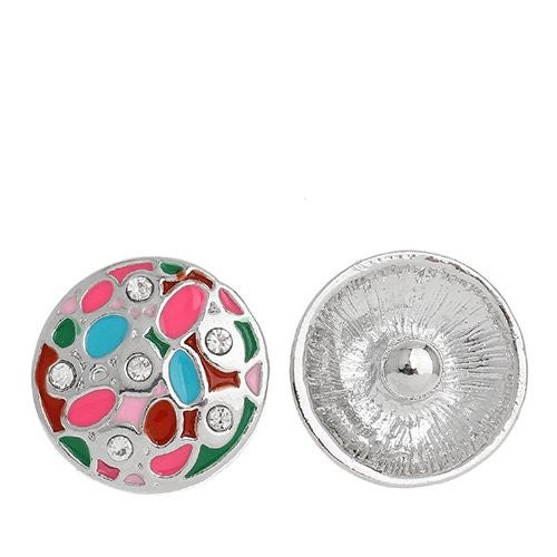 Chunk Snap Buttons Fit Chunk Bracelet Round Silver Tone Enamel Multi Clear Rhinestone Pattern Carved 20mm