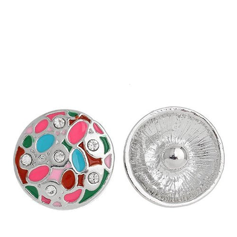 Chunk Snap Buttons Fit Chunk Bracelet Round Silver Tone Enamel Multi Clear Rhinestone Pattern Carved 20mm - Sexy Sparkles Fashion Jewelry - 1