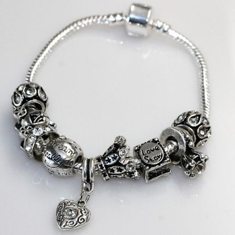 "7"" Love Story Charm Bracelet Pandora Style, Snake chain bracelet and charms as pictured - Sexy Sparkles Fashion Jewelry - 2"