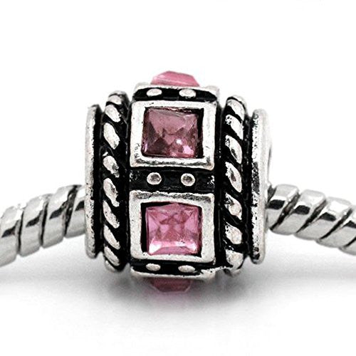 Square Design Pink Crystal European Bead Compatible for Most European Snake Chain Charm Bracelets