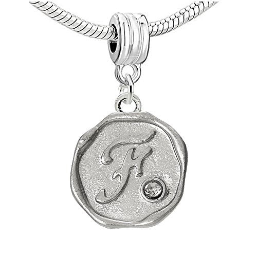 Alphabe Letter F Carved with Clear  Crystals Charm Dangle Bead Compatible with European Snake Chain Bracelets