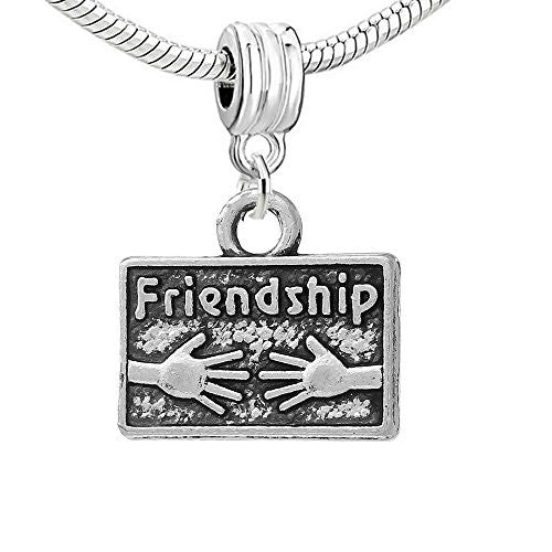 Friendship Dangle Charm European Bead Compatible for Most European Snake Chain Bracelet