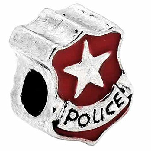 Police Police Officer Badge Red Enamel Charm European Bead Compatible for Most European Snake Chain Bracelet