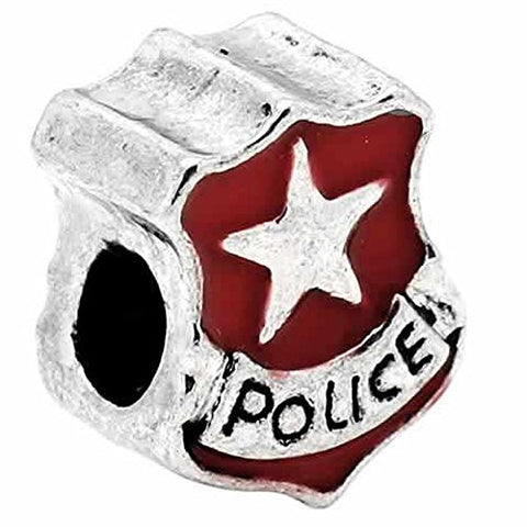 Police Police Officer Badge Red Enamel Charm European Bead Compatible for Most European Snake Chain Bracelet - Sexy Sparkles Fashion Jewelry - 1