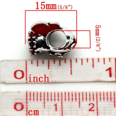 Red Flower Fairy Charm European Bead Compatible for Most European Snake Chain Bracelet - Sexy Sparkles Fashion Jewelry - 3