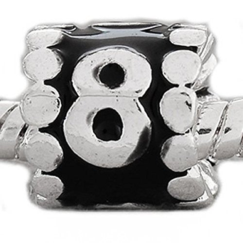 "Black Enamel Number Charm Bead  ""8"" European Bead Compatible for Most European Snake Chain Charm Bracelets"