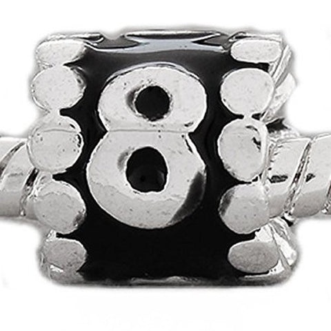 "Black Enamel Number Charm Bead  ""8"" European Bead Compatible for Most European Snake Chain Charm Bracelets - Sexy Sparkles Fashion Jewelry - 1"