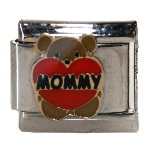Teddy Bear Mommy with Heart Italian Link Bracelet Charm
