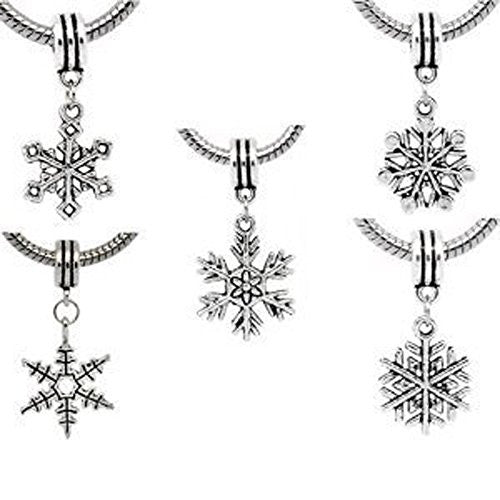 5 Christmas Snowflake Charm Dangles Bead European Bead Compatible for Most European Snake Chain Charm Bracelet - Sexy Sparkles Fashion Jewelry