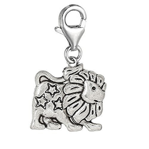 Zodiac Signs Clip On For Bracelet Charm Pendant for European Charm Jewelry w/ Lobster Clasp (Leo)