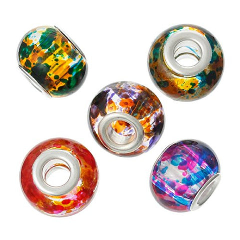 (10) Assorted Multi  Mixed Glass European Lampwork Charm Beads (Spotted) - Sexy Sparkles Fashion Jewelry - 3