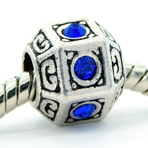 Hexagon Royal Blue Created Birthstone September Charm European Bead Compatible for Most European Snake Chain Bracelet