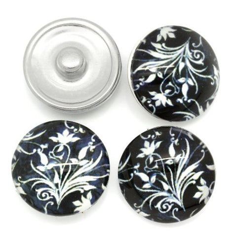 Black and White Flower Design Glass Chunk Charm Button Fits Chunk Bracelet - Sexy Sparkles Fashion Jewelry - 3