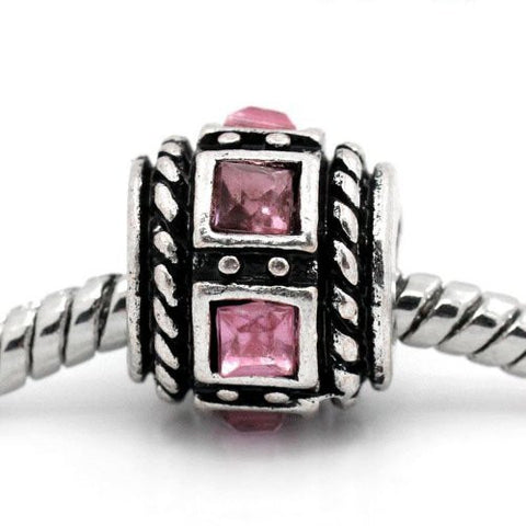 Square Design Pink Crystal European Bead Compatible for Most European Snake Chain Charm Bracelets - Sexy Sparkles Fashion Jewelry - 4