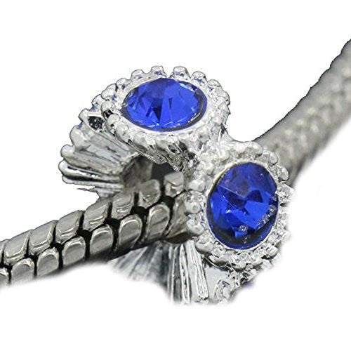 Flower with Royal Blue Rhinestones Charm Spacer For Snake Chain Charm Bracelets