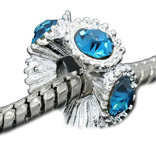 Flower with Light Blue Rhinestones Charm Spacer For Snake Chain Charm Bracelets