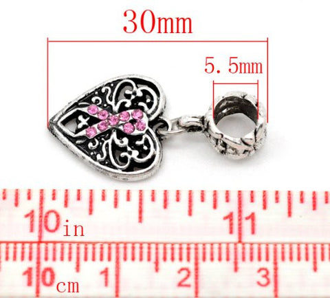 Silver Tone Bead Charm, Breast Cancer Awareness Dangle for Snake Chain Charm Bracelet - Sexy Sparkles Fashion Jewelry - 2