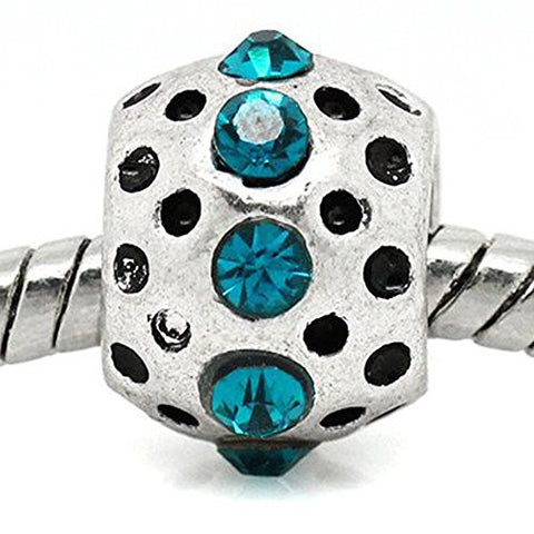 Aqua Rhinestone  Birthstone Charm European Bead Compatible for Most European Snake Chain Bracelets - Sexy Sparkles Fashion Jewelry - 1