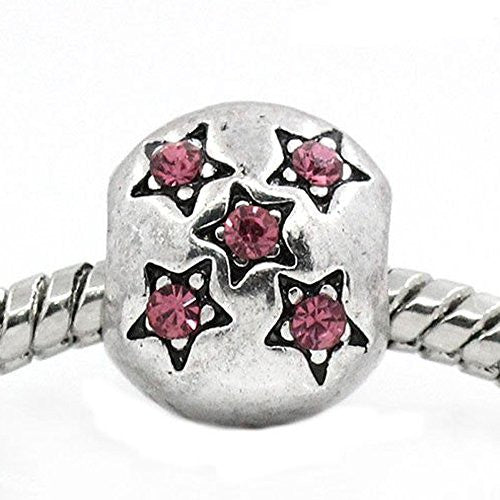 European Charm Beads Antique Silver Star Carved Pink Rhinestone