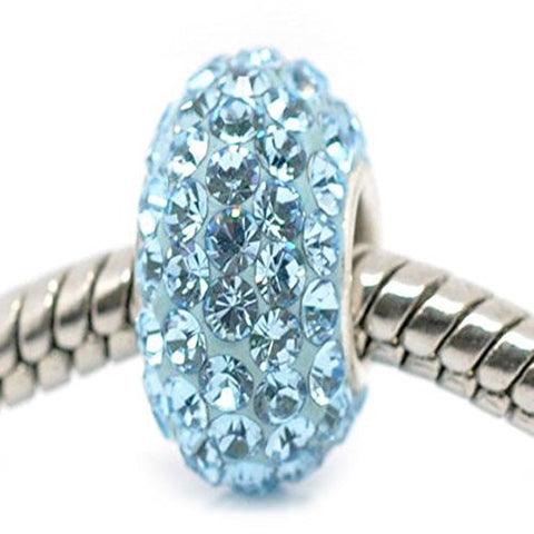 Aqua Blue  Crystal Pave European Charm - Sexy Sparkles Fashion Jewelry - 1