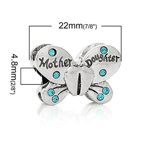 Mother Daughter Butterfly Charm European Bead Compatible for Most European Snake Chain Bracelets - Sexy Sparkles Fashion Jewelry - 3