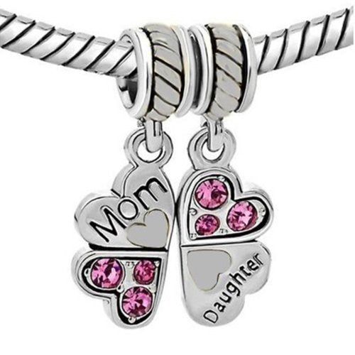 1 Pair Mother Daughter Heart Love Butterfly European Bead Compatible for Most European Snake Chain Charm Bracelet - Sexy Sparkles Fashion Jewelry