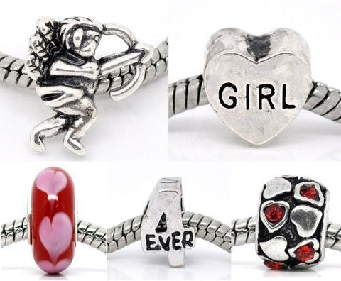 5 Be My Valentine Love Heart Murano Glass Charm Beads For Snake Chain Bracelet - Sexy Sparkles Fashion Jewelry - 2