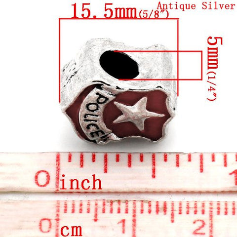 Police Police Officer Badge Red Enamel Charm European Bead Compatible for Most European Snake Chain Bracelet - Sexy Sparkles Fashion Jewelry - 3