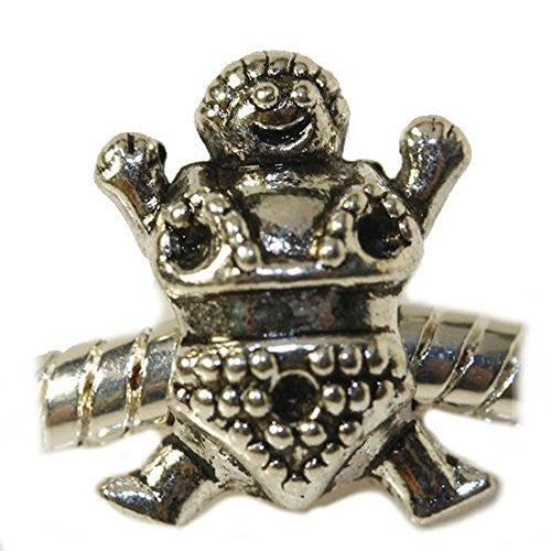 Sumo Wrestler Charm European Bead Compatible for Most European Snake Chain Bracelet